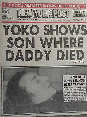 John Lennon New York Post Death Photo Complete Newspaper Beatles 1980 Ny Yankees Ebay