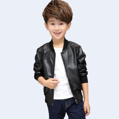 Boys Pu Leather Jackets Motorcycle Jacket Cool Kids Boys Biker Outwear Coat Tops