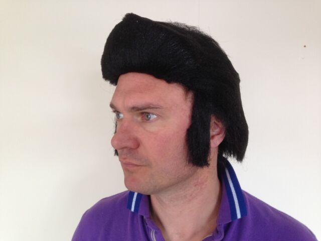 Mens Short Black Quiff Elvis Grease Danny Rock n Roll Teddy Boy Fancy Dress Wig