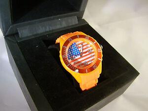 Reloj-De-Mujer-Nino-Correa-Silicona-bandera-EE-UU-americana-us-naranja