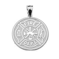 925 Sterling Silver U.s. Firefighter Maltese Cross Coin Pendant