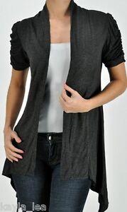 Gray-Drape-Side-Artsy-Short-Sleeve-Cover-Up-Cardigan-Top-Plus