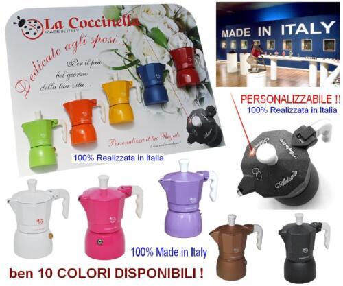 N.1 BOMBONIERA 100/% ITALIANA CAFFETTIERA TOP MOKA in 10 COLORI PERSONALIZZABILE