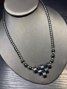 Vintage Nice Quality Non Magnetic Hematite Beaded  Pendant  Necklace 16""