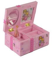 Girl Music Box Childrens Musical Jewellery Box Rectangle With Pink Ballerina