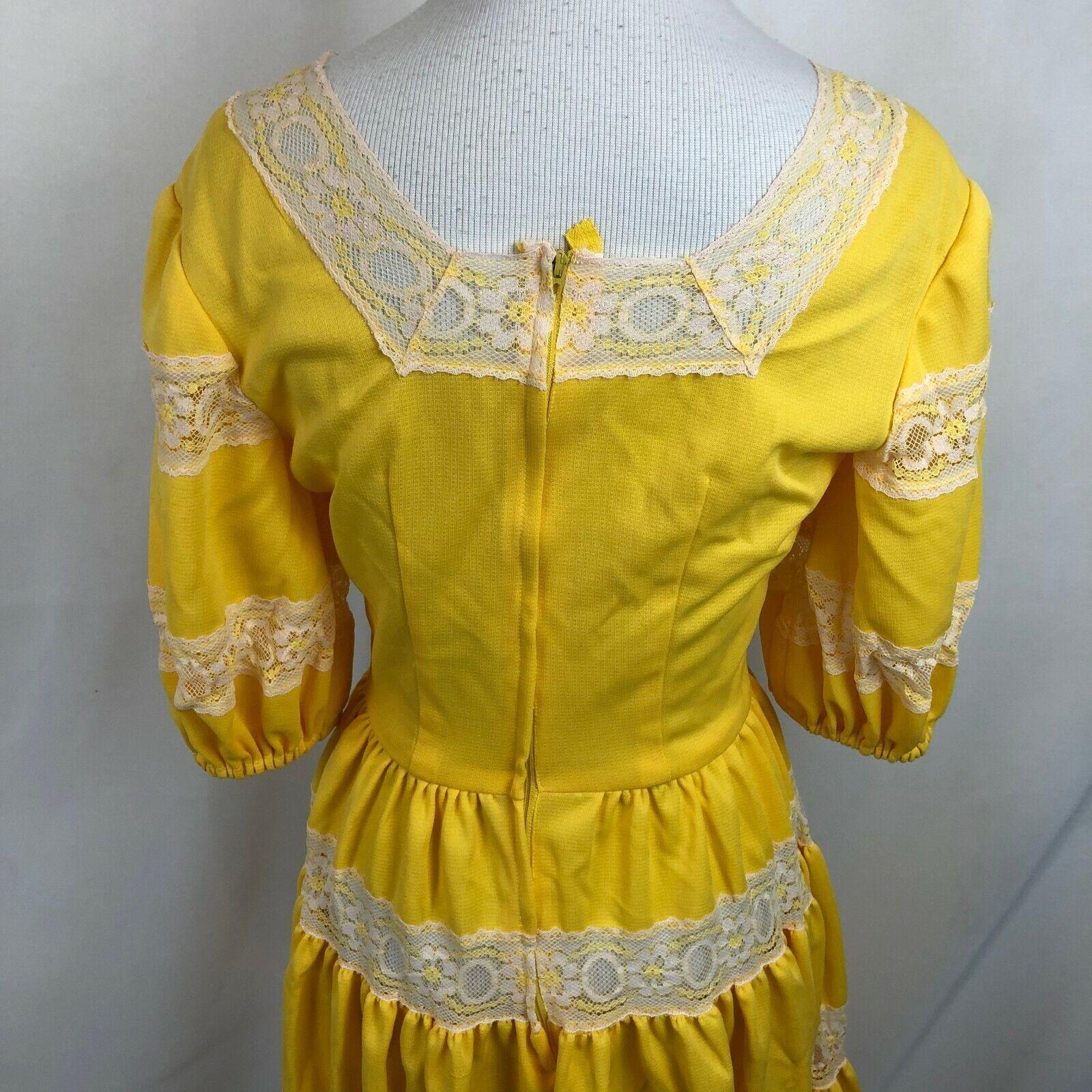 Vintage Lolita Dress Bright Yellow S/M See measur… - image 8