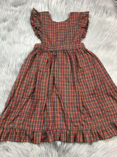 Vintage Girls Red Green Plaid Ruffle Pinafore Apro