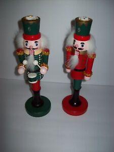 Bombay-Company-10-034-RARE-Holiday-Nutcracker-Taper-Candlesticks-Holders-1994
