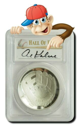 PCGS PR70 Hand Signed By Al Kaline 2014-P Baseball HOF Silver $1