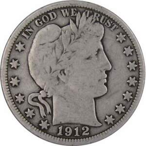 1912 Barber Half Dollar VG Very Good 90% Silver 50c US Type Coin Collectible