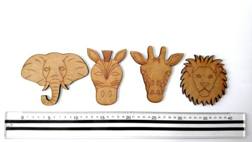 ELEPHANT SHAPE HEAD GIRAFFE- ZEBRA- PERSONALISED BUNTING ANIMALS- MDF LION