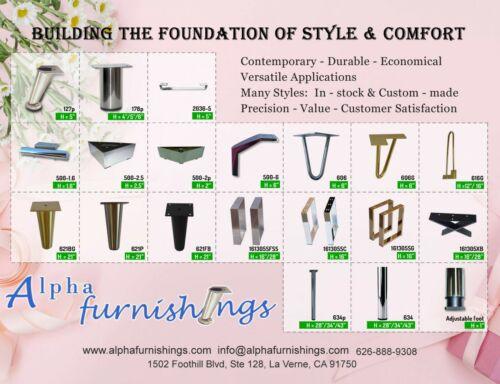 "Metal Furniture Legs Metal Legs for Furniture Sofa Cabinet 5/"" Brushed Satin 4PC"