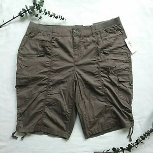 Style & Co. Brown Bermuda Cargo Shorts 16W Plus Mid Rise Comfort Waist NEW