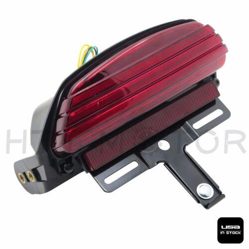 Tri-Bar LED Fender Turn Signal Tail Light Bracket Red For Harley Softail FXST 06