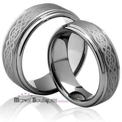 His Hers Tungsten Carbide Celtic Ring Engagement Wedding Anniversary Band (084)
