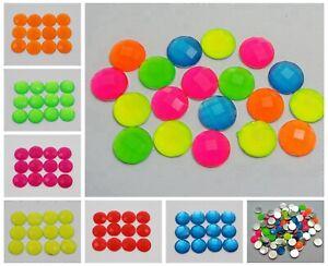 100-Neon-Color-Flatback-Acrylic-Round-Rhinestone-Gems-10mm-No-Hole-Pick-Color