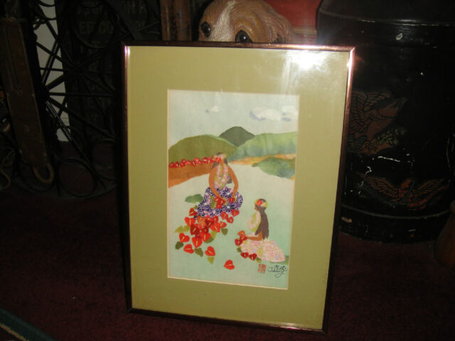 Unusual Chinese Or Japanese Fabric Art-Signed Jimmy-Hawaiian Women-Stamped-LQQK