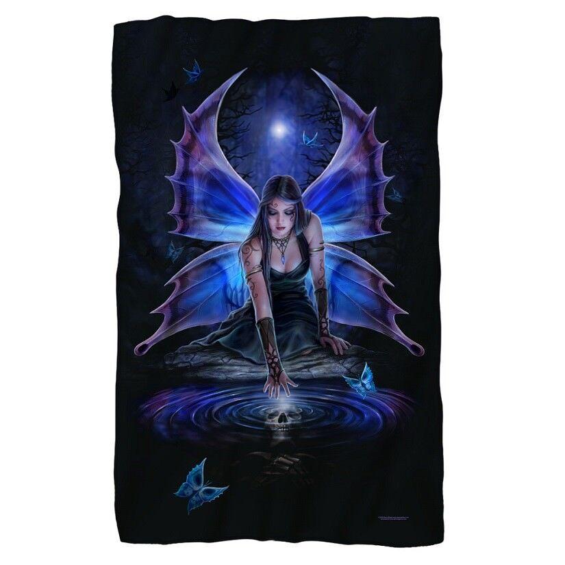 New 36x58 Anne Stokes Fairy Skull Immortal Flight Fleece Throw Gift Blanket Goth