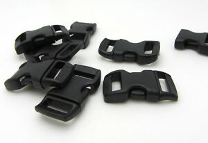 12pcs-3-8-034-Curved-Side-Release-Plastic-Buckle-for-Paracord-Bracelet-Black