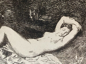 Strong water baraize engraving etching study naked woman nude sleeping nymph