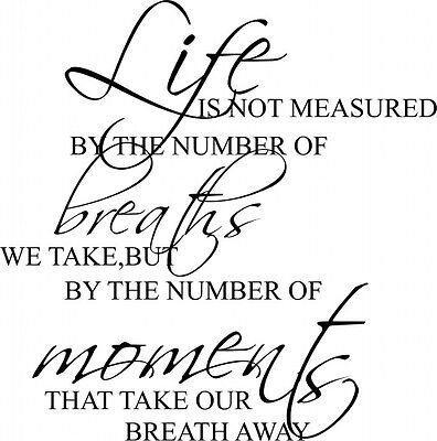 LIFE MOMENTS BREATH AWAY ...  LYRIC wall STICKER bedroom design QUOTE