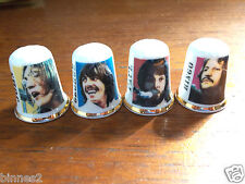 THE BEATLES LET IT BE COLOURED FOUR FINE BONE CHINA THIMBLES - MADE IN ENGLAND