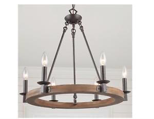 Solid Wood Wagon Wheel Pendant Chandelier, 6-Light Bronze Dining Room Light