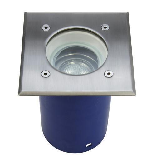 Bodeneinbaustrahler Aluminium Edelstahl gebürsteter Stahl Glas GU10