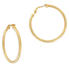 Clip On Earrings Matte Gold Tone Plain Hoop Ball End 1 3/4""