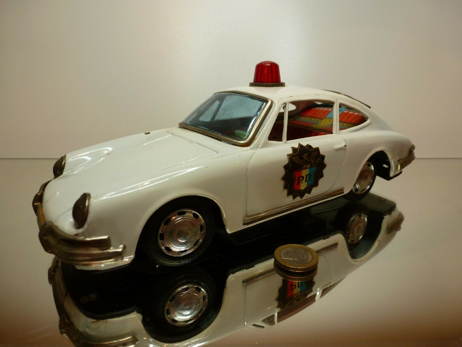 TT JAPAN TIN TOY PORSCHE 911 POLICE - blanc L28.0cm RARE - GOOD CONDITION