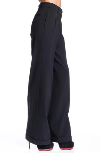 Love Moschino Wide Leg Trousers Black Crepe mid rise multi pockets boot cut Pant