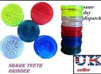 NO1 Shark Teeth 3 Part 60mm MAGNETIC GRASSLEAF Herb Spice Grinder Plastic Duster