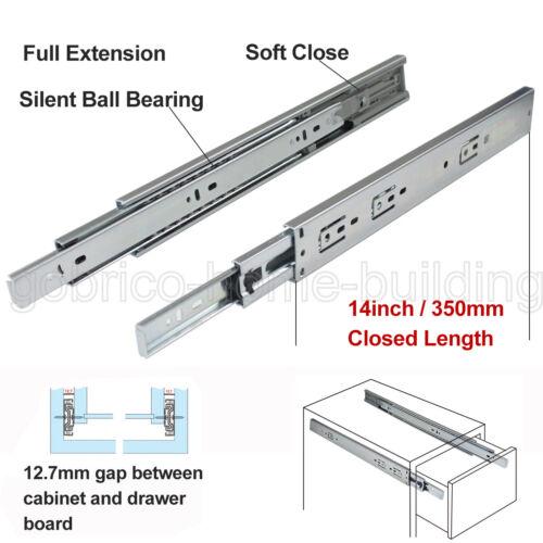 5Pair Drawer Runner Ball Bearing Rear//Side Mount Full Extension Slide Heavy Duty