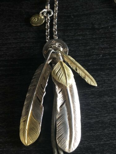 Goros Fine Handmade Silver/Gold Feathers Necklace
