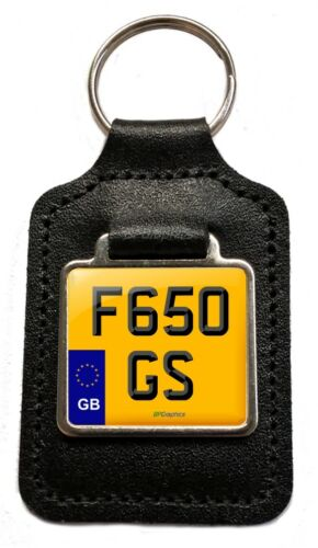 GB F650 GS Reg Cherished Number Plate Leather Keyring for BMW F650GS Owners