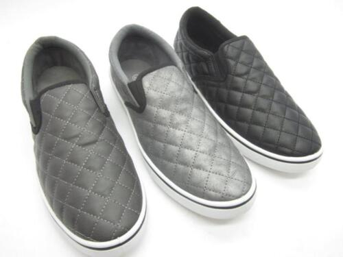 Mens Casual Slip On Boat Sneakers Shoes Black Gray Navy Sizes 8 9 10 11 12
