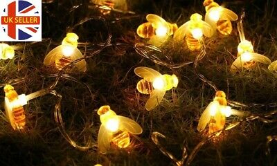 Globrite 30 Led Honey Bee Solar String Lights Party Fairy Outdoor Garden