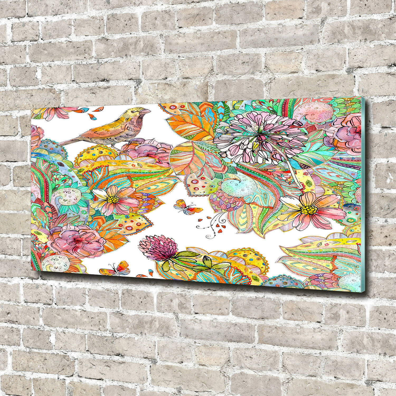 Glas-Bild Wandbilder Druck auf Glas 140x70 Deko Tiere Vogel und Ornamente
