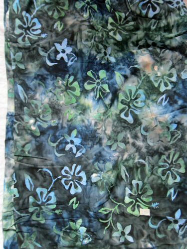 Hand Painted Indonesian Batik Rayon Crafting Sewing Dress Floral Fabric by METER