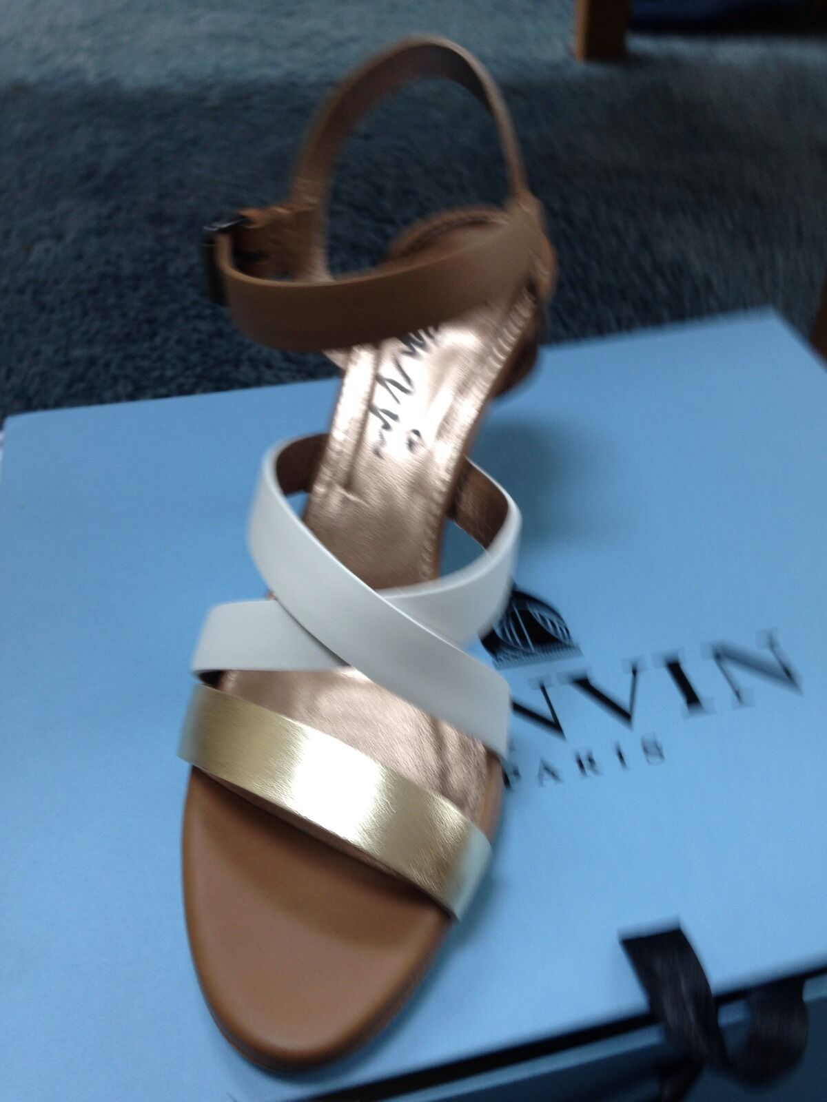 Lanvin Strappy, Pelle, Tan/ White mules High ( 3in. and up), Size 8 New