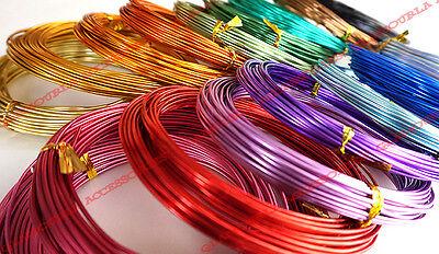MULTI CLR Aluminum Wire Ni & Pb free - 15 gauge (1.5mm) Bonsai Craft jewelry DIY