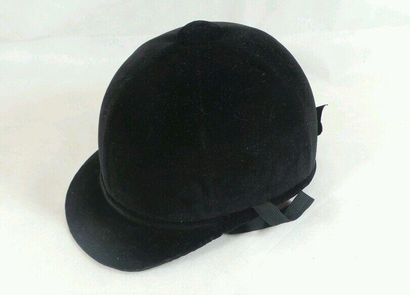 Inglés Vintage Negro  Terciopelo Sombrero de Montar a Caballo Talla 6 1 2  venta al por mayor barato