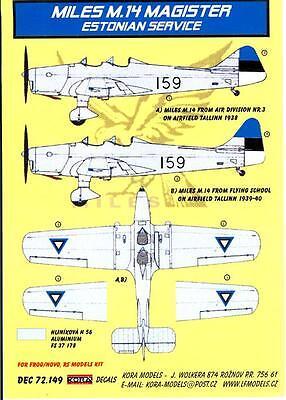 KORA Models Decals 1//72 MILES M.14 MAGISTER in German Luftwaffe Service