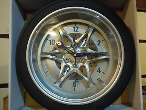 "NEW 14"" Tire Rim Gear Clock - AUTOMOTIVE COLLECTABLE With Real Rubber Tire"