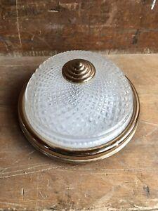 Ancienne Applique Plafonnier Verre Moulé + Support Métal Doré Vintage