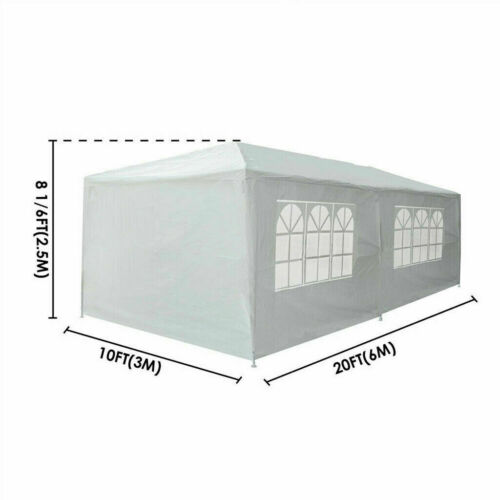 3X6M Garden Heavy Duty Waterproof Gazebo Marquee Party Tent W//4 Side Walls White