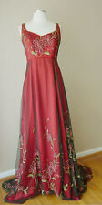 VINTAGE CORSET LONG TRAIN EMBROIDERED METALLIC EVENING GOWN DRESS WEDDING FORMAL