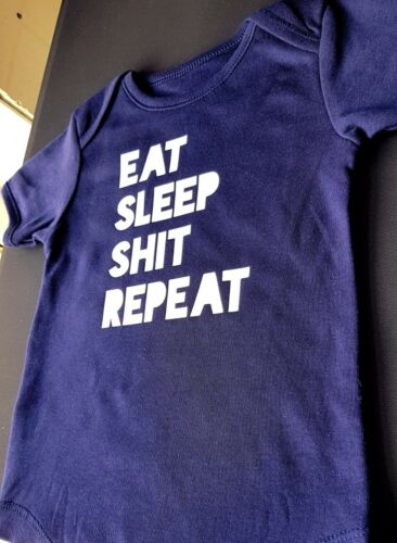 EAT SLEEP SH*T REPEAT rude funny silly Baby Grow Romper Body Suit Gift unisex
