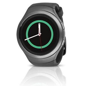 Samsung-Gear-S2-SM-R730T-Smartwatch-T-Mobile-w-Rubber-Band-L-Dark-Gray