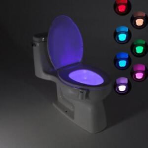 Veilleuse Automatique Led Toilettes 8couleur Sur Mouvement Wc Capteur Lampe Détails Lumière eQrodxBWC